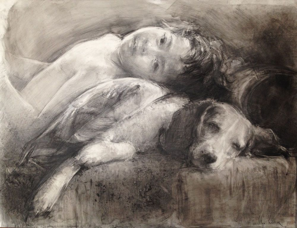 Portrait society of america place drawing olga krimon yin and yang charcoal and graphite