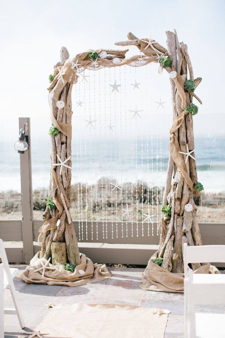 diy beach theme wedding centerpieces%0A Rustic Wood Beach Wedding Arch with Burlap and White Starfish   Deer Pearl  Flowers