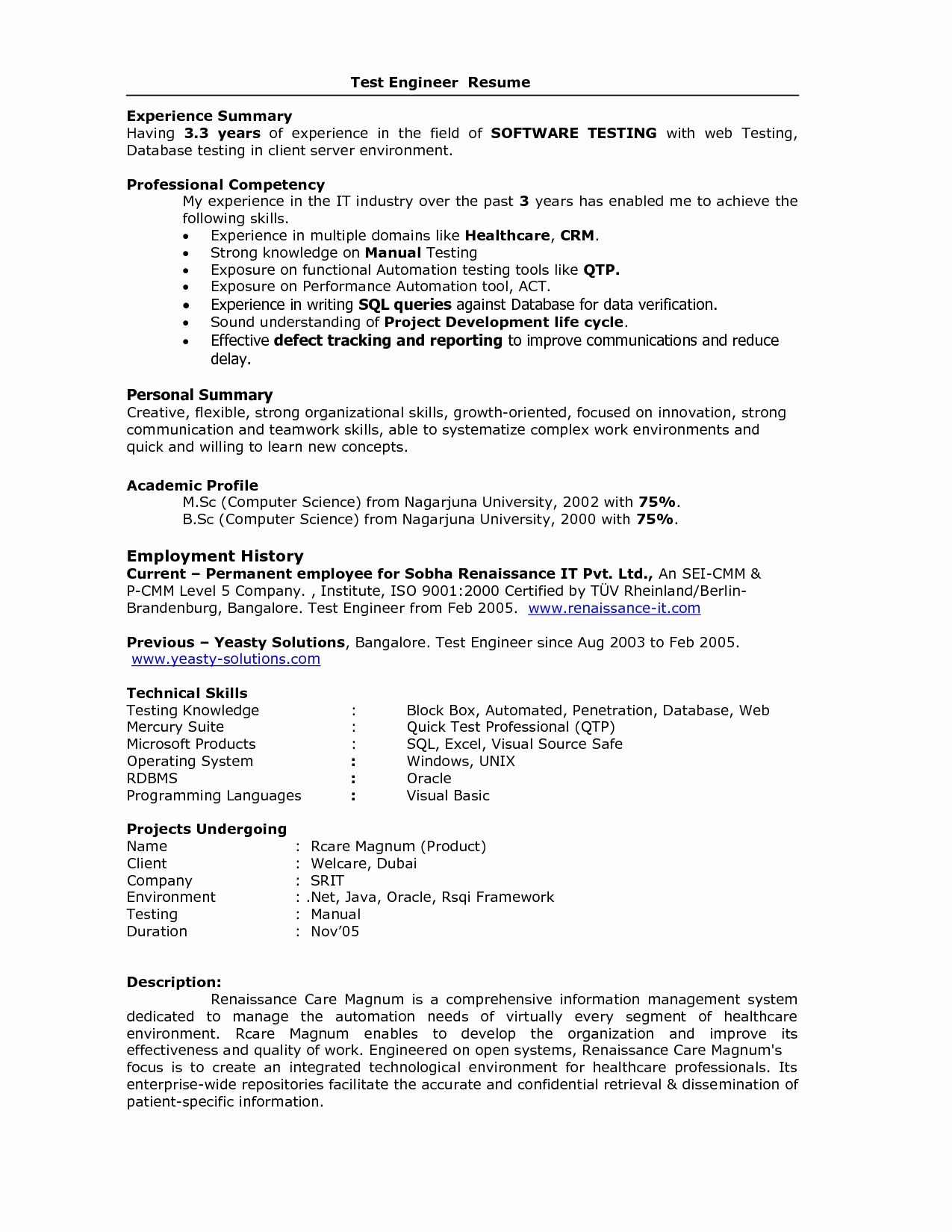 Resume Format For 5 Years Experience In Testing Experience Format