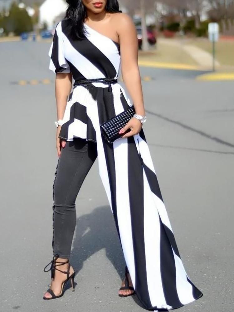dafeab2cdd1d9 One Shoulder Contrast Striped Asymmetric Blouse Chic Winter Outfits