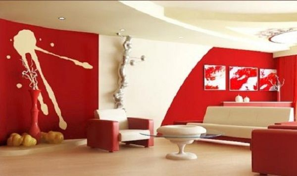 new wave decor living room red white wallpaper sofa armchair table rh pinterest at