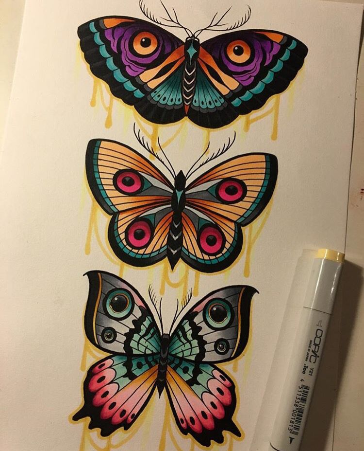 Josep Canti S Work 3 Traditional Butterfly Tattoo Tattoos Inspirational Tattoos