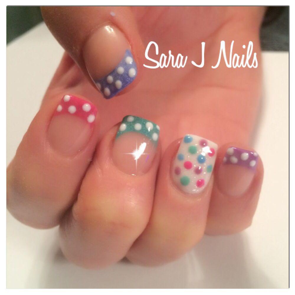 Polka dot pastel acrylic nail design | uñas | Pinterest