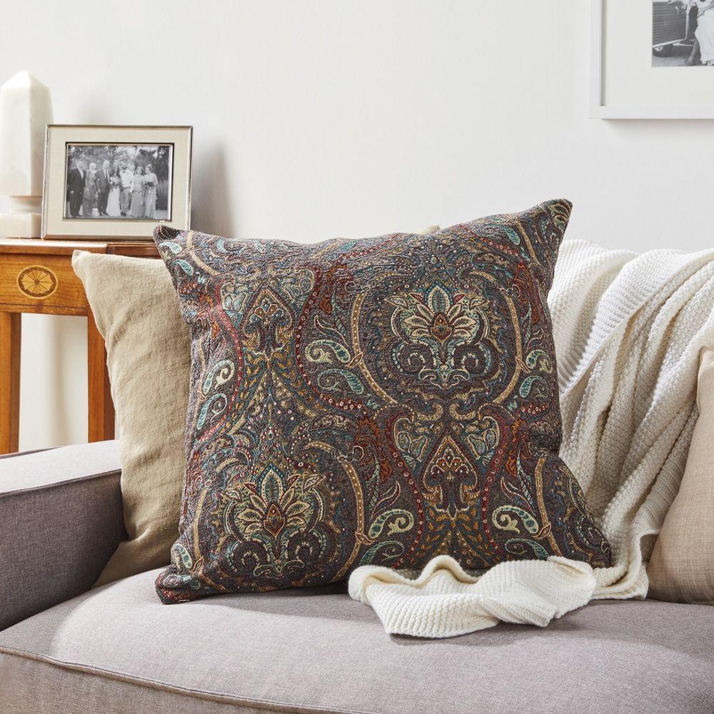 Raj Damask Throw Pillow Overstockcom Shopping
