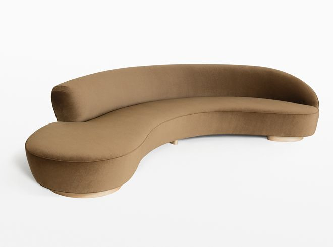 Vladimir kagan holly hunt free form curved sofa with for Canape haricot