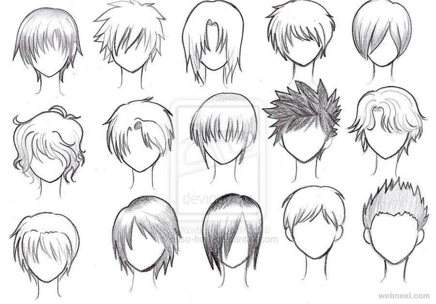 Draw anime male hair