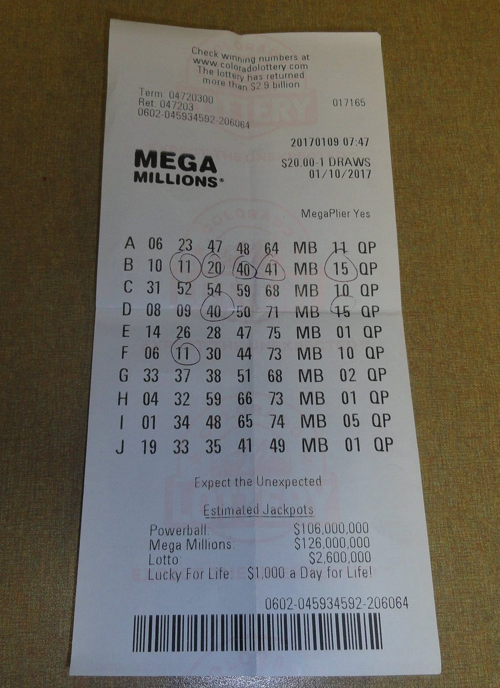 Check Out This Mega Millions Ticket From One Of Our Fort Collins Players It Was For The Jan 10th Drawing And Here S A Winning Numbers 10 Things Fort Collins