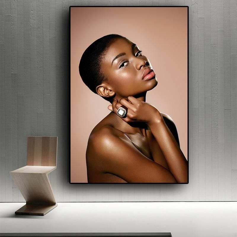Sexy Lips Nude African Art Black and Gold Woman Oil Painting on Canvas