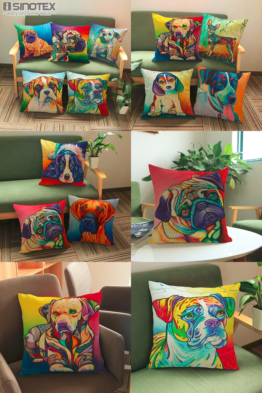 [Visit to Buy] French Bulldog Pug Dog Cushion Cover Bull Terrier Cavalier King Charles Spaniel Pillow Linen Euro Decor Christmas New Year Gift #Advertisement