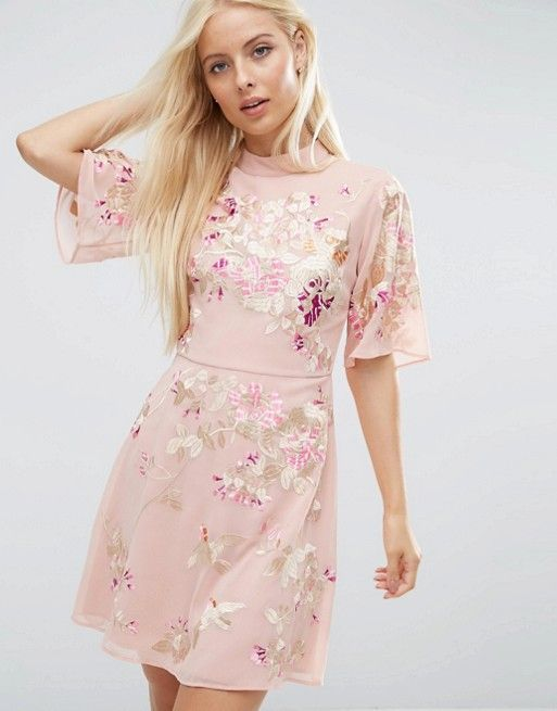 PREMIUM Mini Dress With Floral Embroidery  5b2df004f16b8