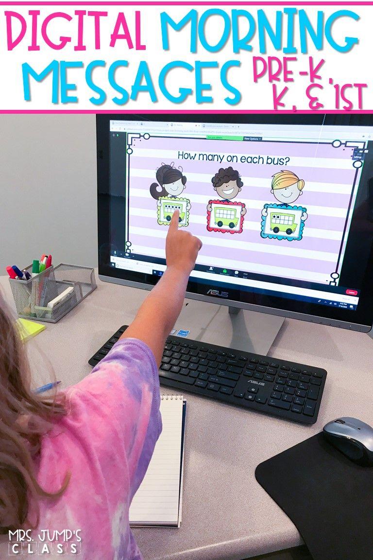 Digital Morning Messages for PreK, Kindergarten, & First