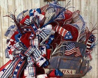 Photo of July 4th Wreath – Patriotic Wreath – July 4th Wreath – American Flag Wreath – Veterans Day Wreath – Americana – Stars and Stripes