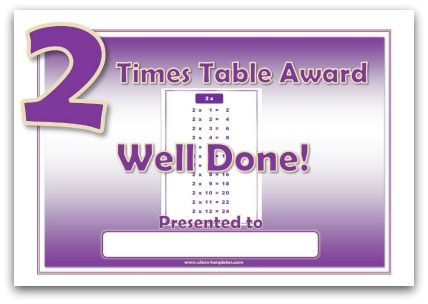 2 times table award certificate Home school Pinterest - multiplication table