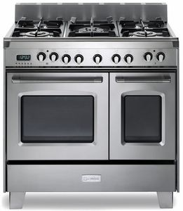 "VCLFSGE365DSS Verona Classic 36"" Dual Fuel double Oven Range with 5 Sealed Burners - Stainless Steel"