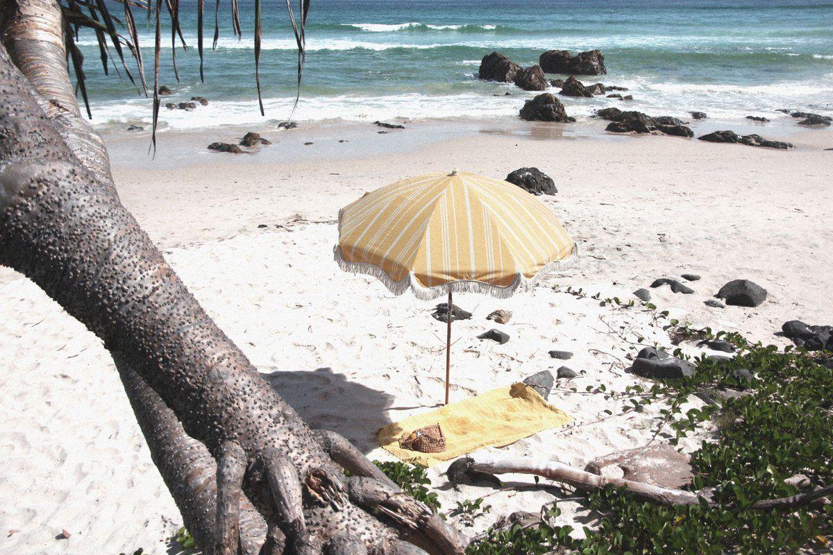 The Premium Beach Umbrella Vintage Yellow Stripe【2020