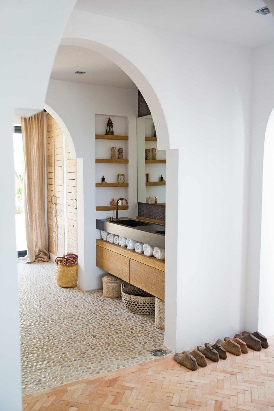 Bathroom with stone floor in a home on Ibiza | | home | | Pinterest ...