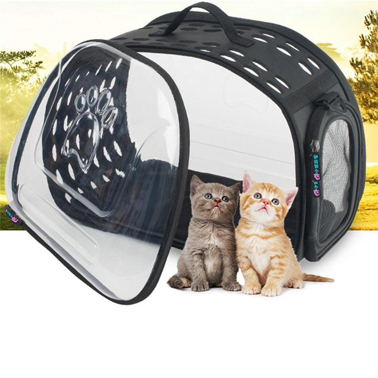 ペットバッグ ペットキャリー ペットケース 犬猫兼用 手提げ 通気性抜群 旅行 お出かけ ポータブル 透明 黒色