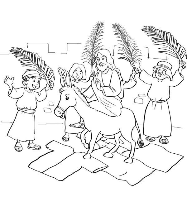 Palm Sunday Jesus Entry Into Jerusalem In Coloring Page PageFull Size Image