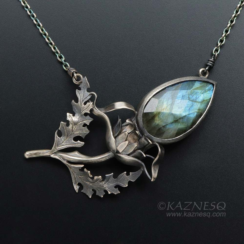 Photo of Labradorite thistle motif oxidized silver necklace, nature inspired Goth necklace