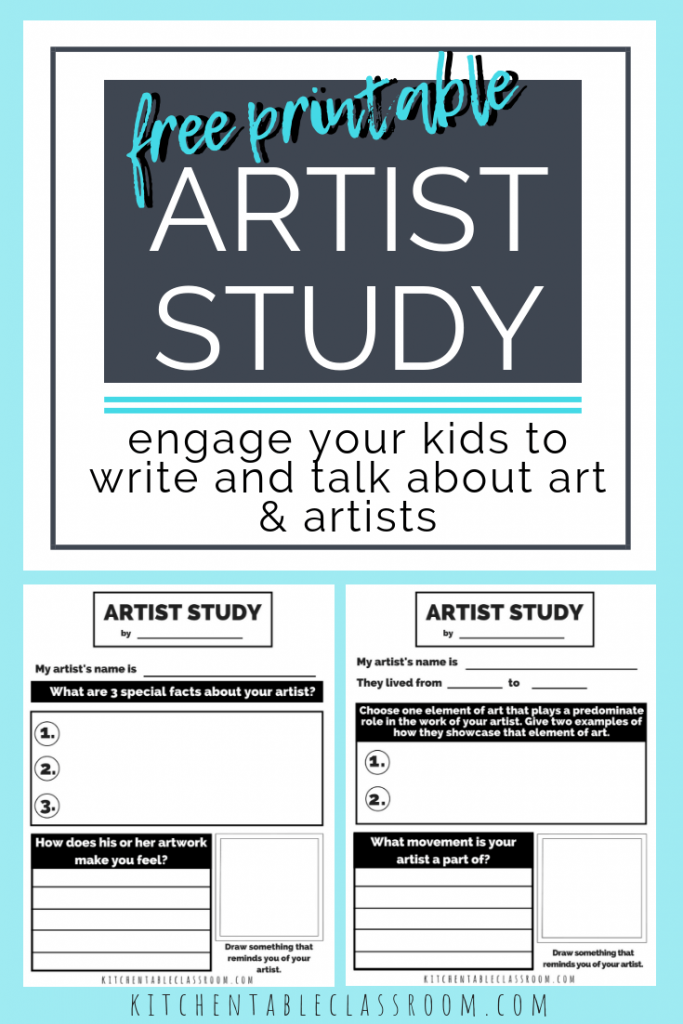 Artist Study Worksheets Talking Writing About Art With Kids The Kitchen Table Classroom Art Lessons Elementary Study Artist Art Curriculum
