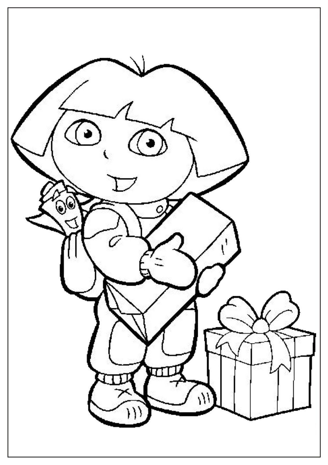 Dibujo para colorear de Dora la exploradora con Mochila y muchos ...