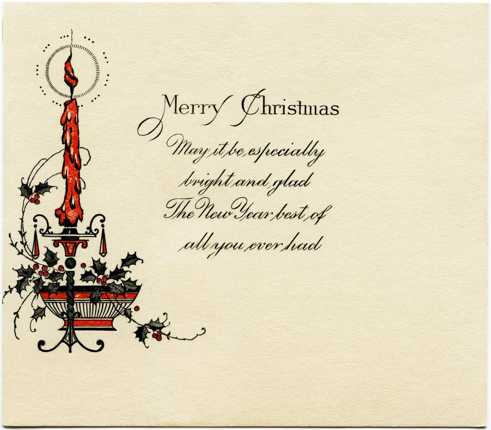 antique christmas card, vintage candle graphic, burning