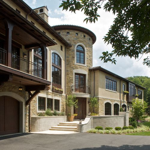 Exterior | entry - mediterranean - exterior - cincinnati - RWA ... on stone building home, quonset hut home, stone cave home, stone wall home, stone castle home, stone temple home, stone arch home,