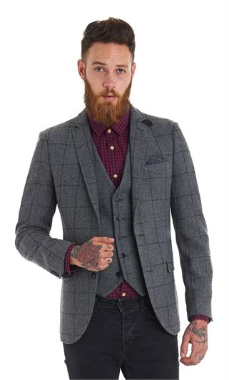 6cd14d9ab12f50 Moss London Slim Fit Grey Check Jacket