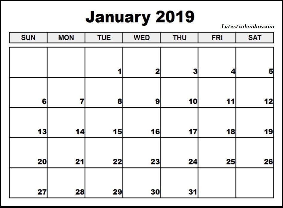 Calendar For January 2019 Editable Calendar Calendar Printables