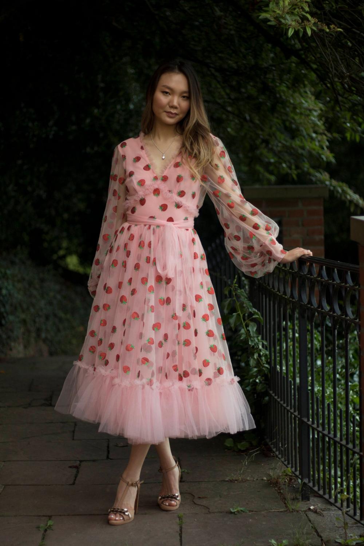 Made To Measure Midi Blush Strawberry Tulle Dress Etsy Strawberry Dress Fancy Wedding Dresses Dresses [ 1500 x 1000 Pixel ]
