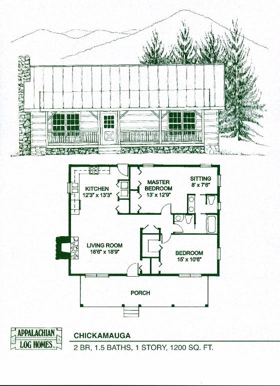 Chickamauga 2 Bed 1 5 Bath 1 Story 1200 Sq Ft Appalachian Log Timber Homes Hybrid Home Floor Plan Log Home Floor Plans Log Homes Log Cabin Kits