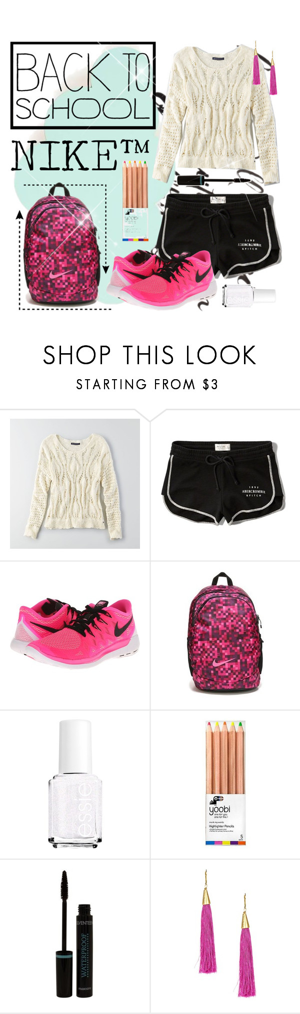 """""""Back To School 3/5- (Set #78)"""" by comebackqueen101 ❤ liked on Polyvore featuring ferm LIVING, American Eagle Outfitters, Abercrombie & Fitch, NIKE, Essie and Mad Jewels"""