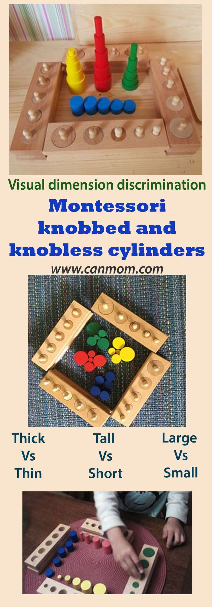 Wooden learning toy / Montessori Knobbed and knobless ...