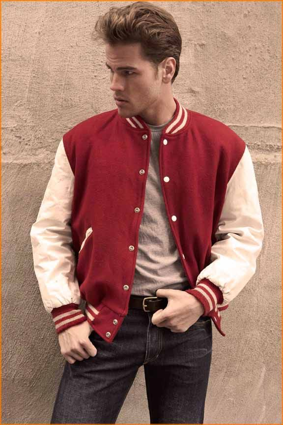 b956631c9 Vintage varsity jacket with leather sleeves. Photo - David Needleman ...