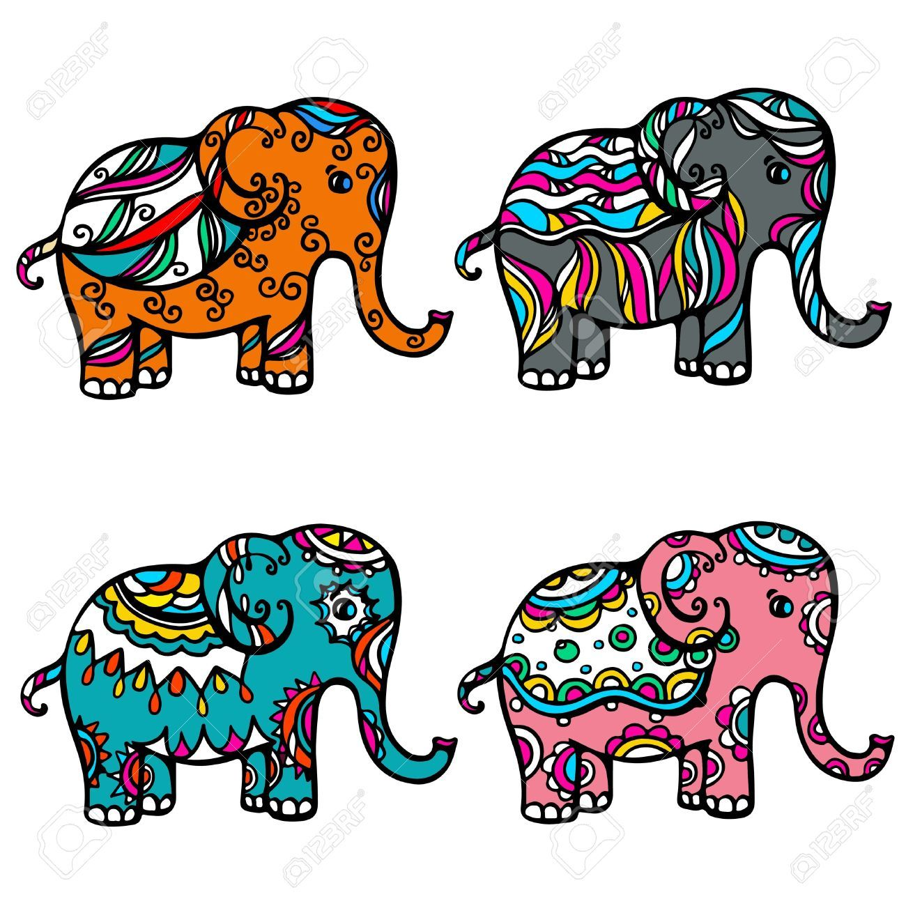 18392437 Set Of Isolated Colored Ornamental Elephant Vector Jpg