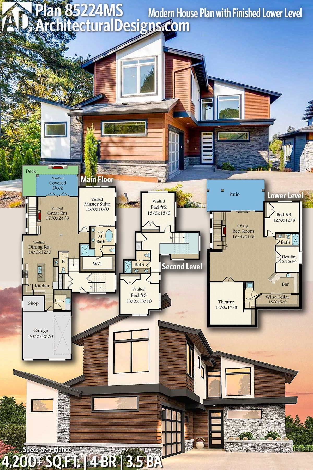 Architectural designs home plan ms gives you bedrooms baths and sq ft ready when are where do want to build also modern house with finished lower level rh pinterest