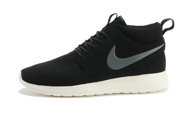1571ab87a1de NB3464 Nike Roshe Run London Olympics Waterproof Suede High-top Sneakers -  Coal Black Carbon Gray Sail White Online Sales