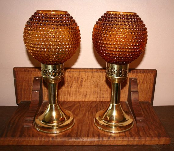 Amber Globes Mason Candlelight Spring Loaded Candle By Ljsevintage Holders