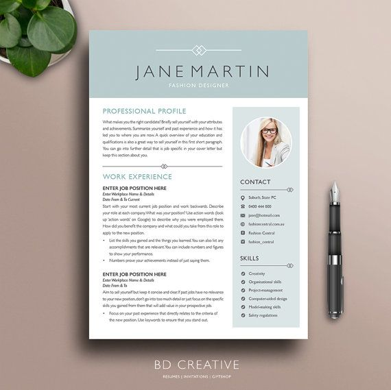 Creative Resume Template  Modern Professional Boutique  School