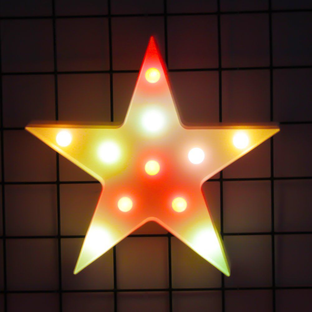 3d Colorful Star Led Lamp Decorative Marquee Signs Letter Star Night Light Wall Decoration For Living Roombedroomhome Christmas Battery Operated Star Night Light
