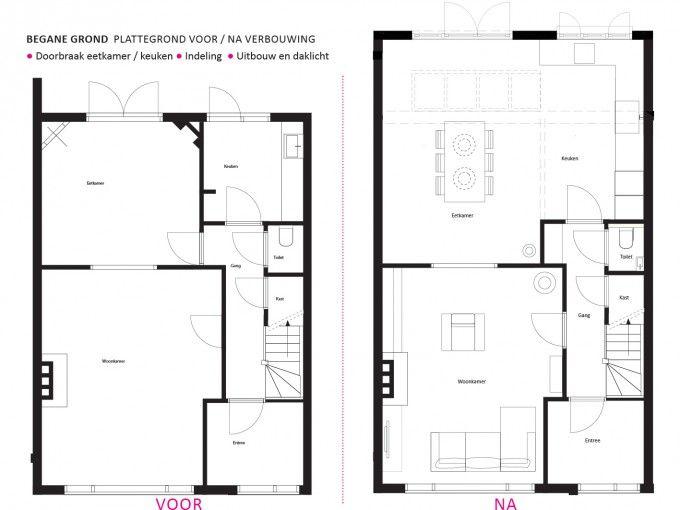 Renovatie jaren 30 woning verbouwing huis pinterest renovatie den haag en voor het huis - Lay outs rond het huis ...