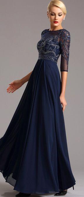 8c2b1054c5368 [EUR 178,49] kurzärmelig dunkel Blau Abendkleid Formal kleid (36161305)