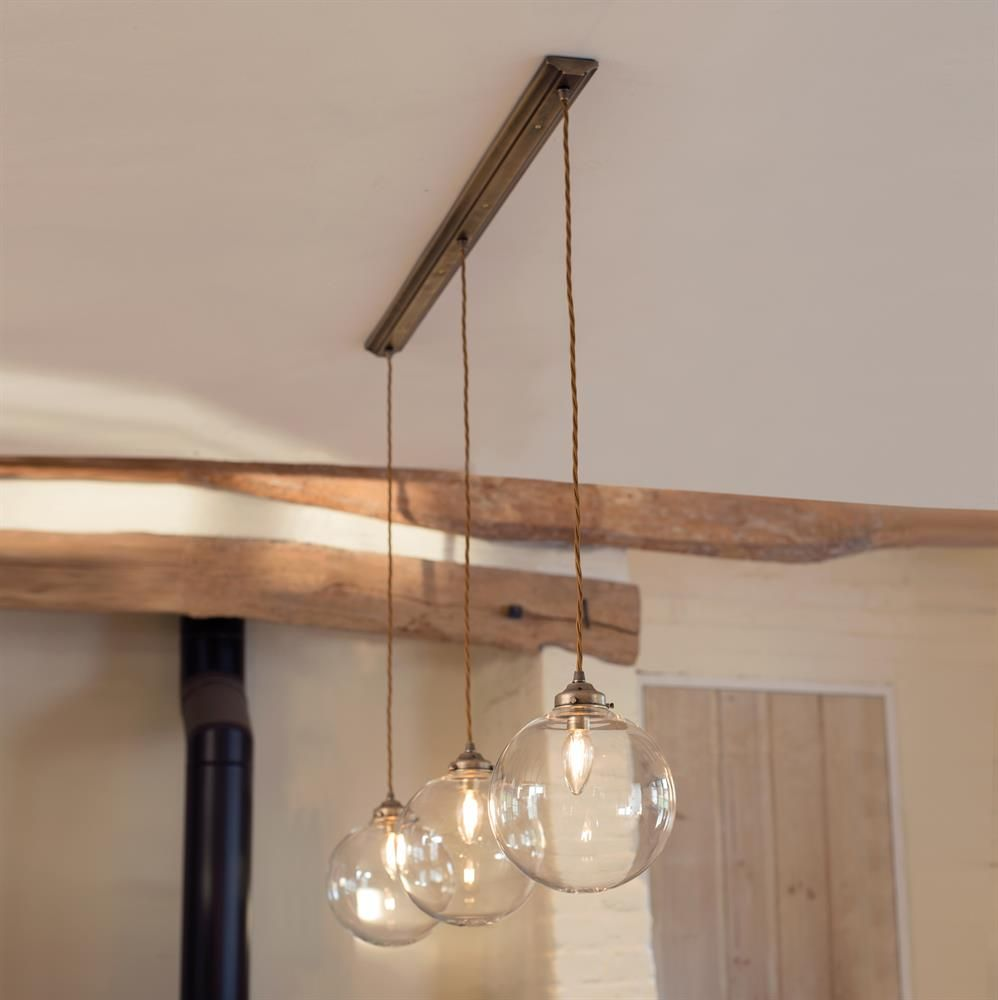 Vintage Brass Track Lighting: Holborn Triple Pendant Track In Antiqued Brass