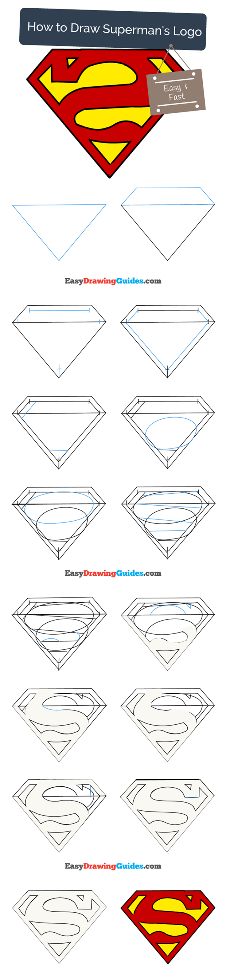 How To Draw Superman Logo Easy Step By Step Drawing Guides Superman Drawing Drawing Tutorials For Kids Drawing Tutorial