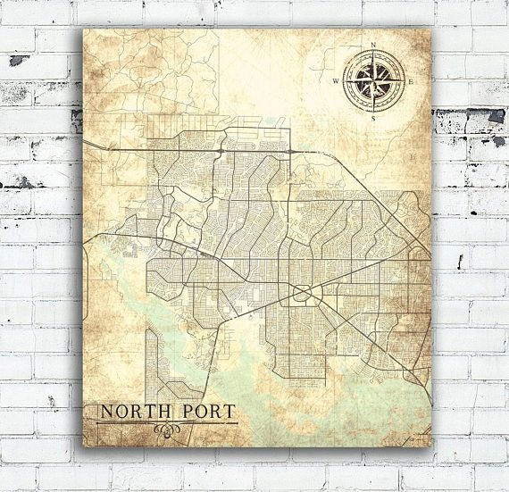 NORTH PORT FL Canvas Print Florida Fl Vintage map North Port Fl City