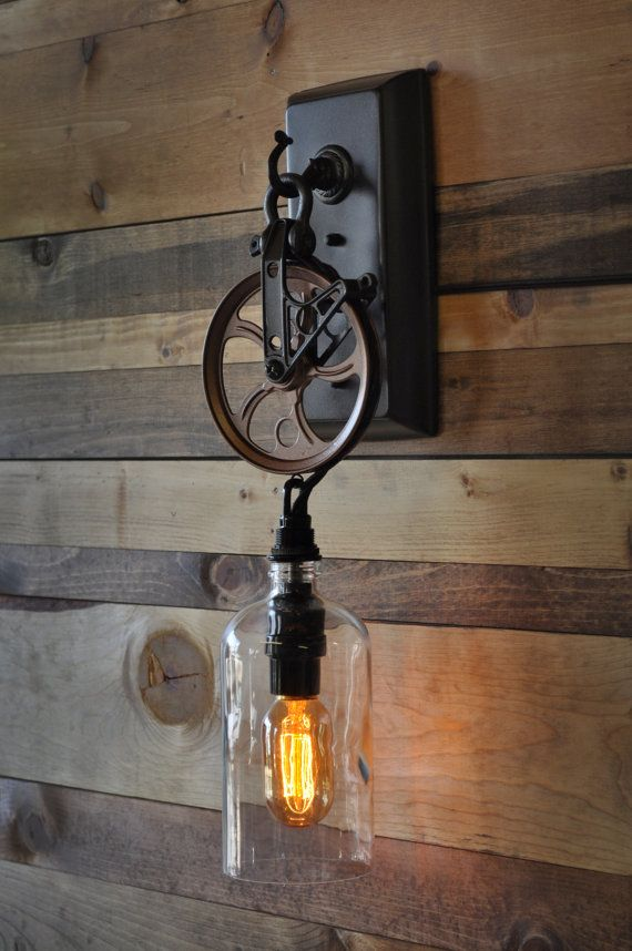 1 Pulley Wheel Wall Sconce Made With Boston Round 32oz Bottle