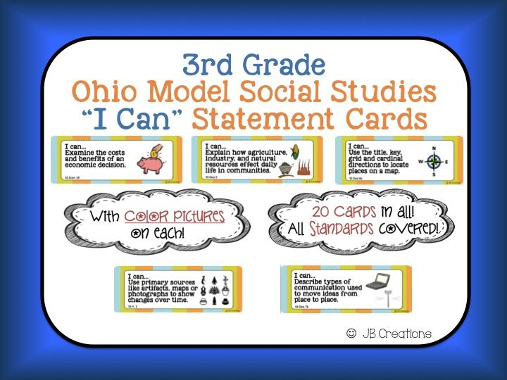 Ohio 3rd Grade Social Studies 'I Can' Statement Cards | 2nd