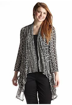 Living Doll Plus Size Vertical Tribal-Inspired Cardigan