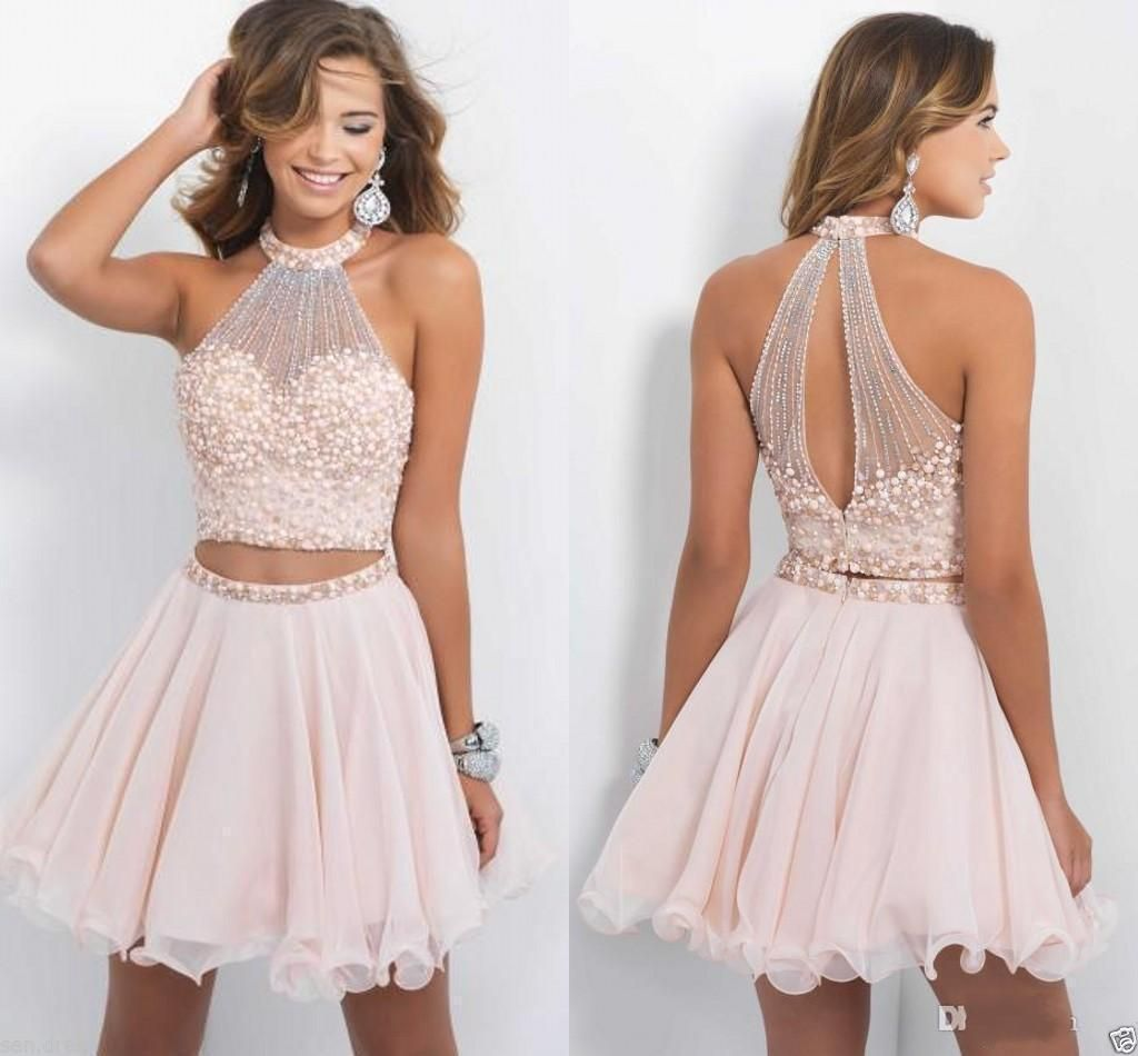 Nice piece short cocktail dress prom gown pearl formal homecoming