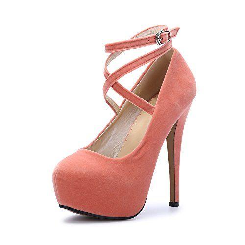 eeb3fa84139e75 OCHENTA Femme Escarpins Bride Cheville Sexy Talon Aiguille Plateforme Epais  Fermeture Lacets Chaussures Club Soiree #2 Pêche 35 EU
